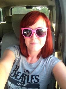 Bright red hair, Beatles T-Shirt, and Pink 80s sunglasses! Because I can! ;-)